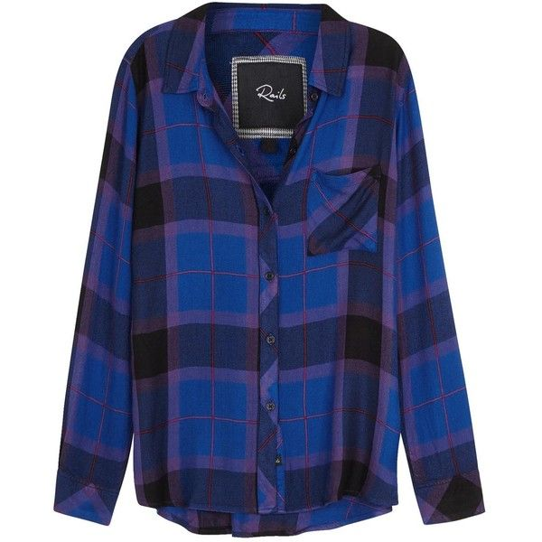 Womens Shirts Rails Hunter Plaid Flannel Shirt ($190) ❤ liked on Polyvore featuring tops, blue flannel shirt, multi colored shirt, shirt top, tartan plaid flannel shirt and rails shirts