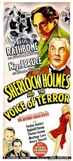 """Sherlock Holmes and the Voice of Terror"" (1942) Basil Rathbone, Nigel Bruce"