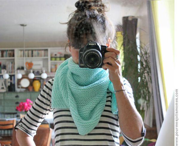 Trendy châle laine phildar 3,5 tricotée avec aig 10!