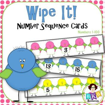 36 Number Sequence Wipe It Cards! Covering numbers 1-100. Simply print, cut apart, and laminate. Use a dry erase marker and then simply wipe off and repeat. Great for math centers.