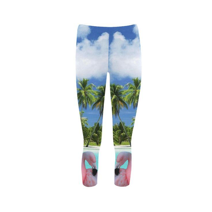Pink Flamingo Capri Legging. FREE Shipping. FREE Returns. #leggings #flamingos