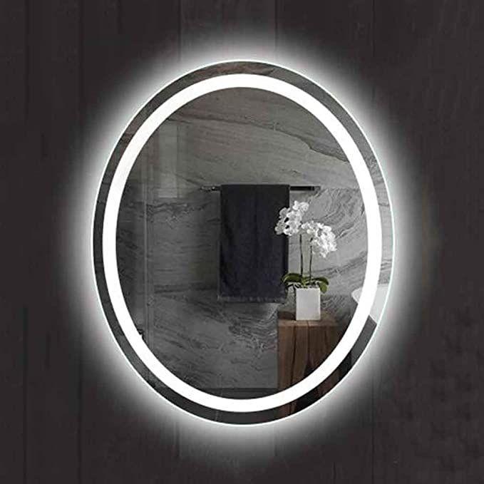 Qz Smart Bathroom Mirror Led Light Mirror Wall Mounted Oval Mirror Anti Fog Explosion Proof Waterproof Color In 2020 Mirror With Lights Bathroom Mirror Oval Mirror