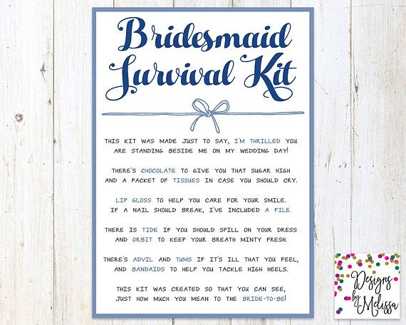 Bridesmaid Survival Kit Navy Blue Wedding Day Gift Digital File