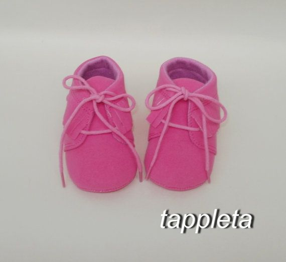 Shoes fuchsia girl booties baby moccs the first shoes by tappleta