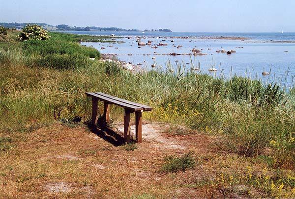Wooden bench in Skillinge