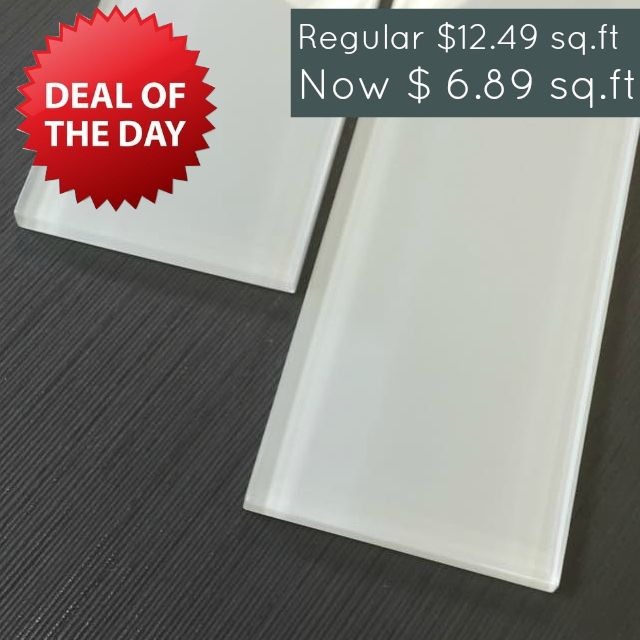 """Discount Glass Tile Store - 3"""" x 12"""" Glass Subway Series - Ice White Special Price $6.89 sq.ft, $6.89 (http://www.discountglasstilestore.com/3-x-12-glass-subway-series-ice-white-special-price-6-89-sq-ft/)"""