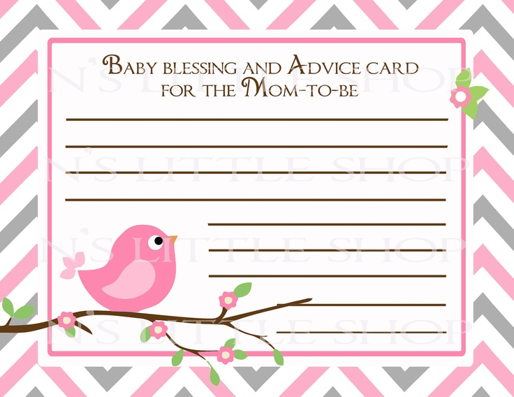 bird baby shower advice card for the mom to be diy printable 300