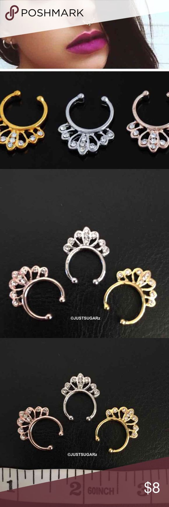 """(1) bull nose ring hoop non piercing Material: alloy/crystal ---no piercing   Colors available: silver, gold and rose gold   Look fabulous every day of the year. Wear them with a fancy outfit on a special night or casually ...Septum nose rings without having to actually pierce your nose!!!   Item does not have """"tags"""" but it sealed in plastic. Never used...brand new.  Please keep in mind that it is the holidays. Thank you. Jewelry Rings"""