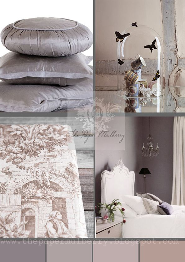 plaster pink,butterflies, toiles and mauve - for more info and photo links: The Paper Mulberry: Fabulously Feminine