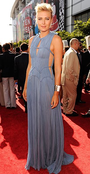 2012 ESPY Awards: Maria Sharapova in a slate blue J. Mendel gown with cut-out details and metallic Jimmy Choo sandals.