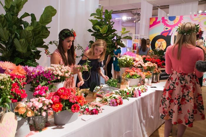 """Indie Beauty Expo #crownsbychristy #flowerbar <p> <a href=""""http://www.bizbash.com/crowns-by-christy/new-york/listing/933588"""">Crowns by Christy</a> created flower crowns for the crowd.</p>"""