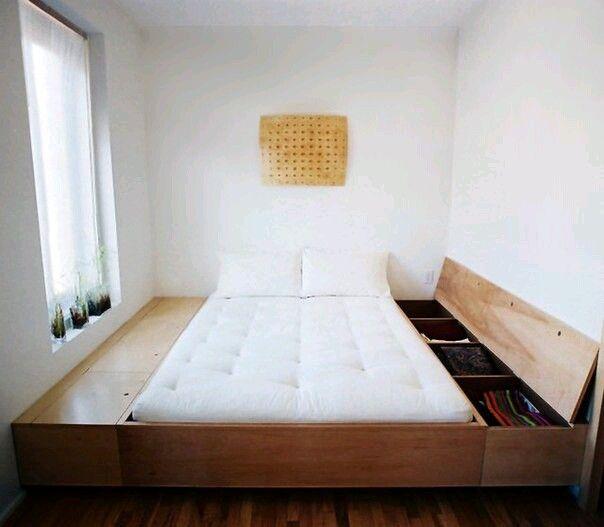 Хранение. Можно еще выдвижные ящики под кроватью, или подъемный механизм. Хотя те же узкие шкафы можно поставить стоя по бокам кровати