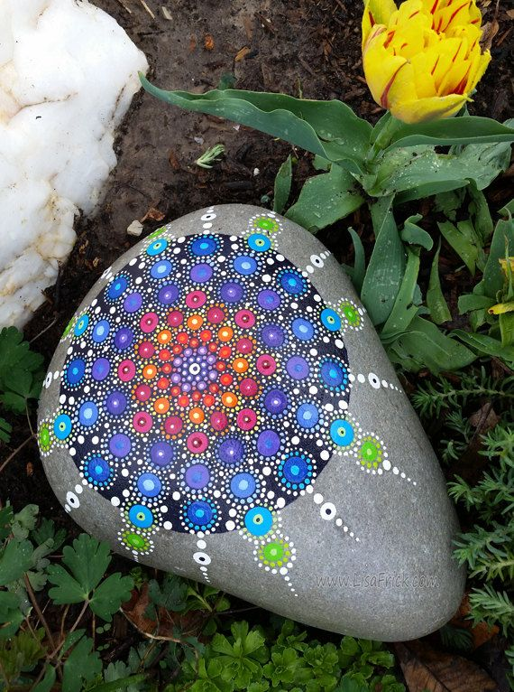 Painted Garden Rock-Mandala-Sacred Geometry by LisaFrick on Etsy