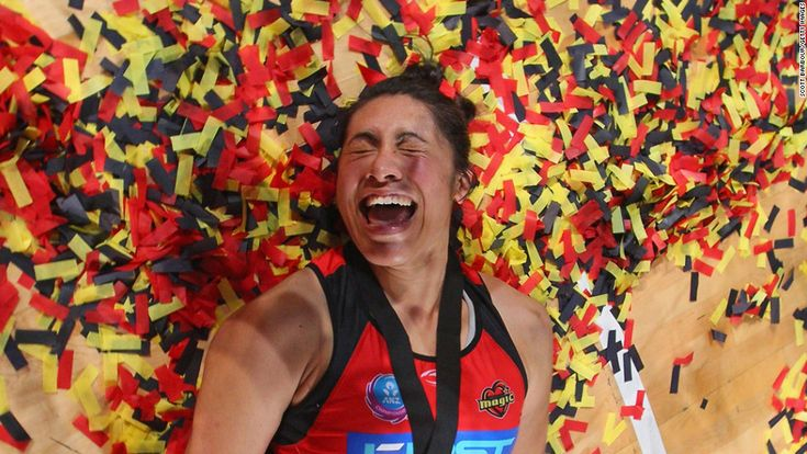 Julianna Naoupu of the Waikato Bay of Plenty Magic lies amongst the confetti after winning the Australian and New Zealand Netball League Championship match against the Melbourne Vixens on July 22 in Melbourne, Australia. - CNN.com