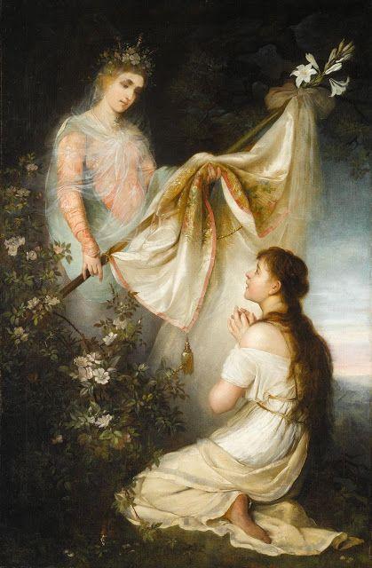 H Ιωάννα της Λορένης γονατιστή μπροστά σε Άγγελο