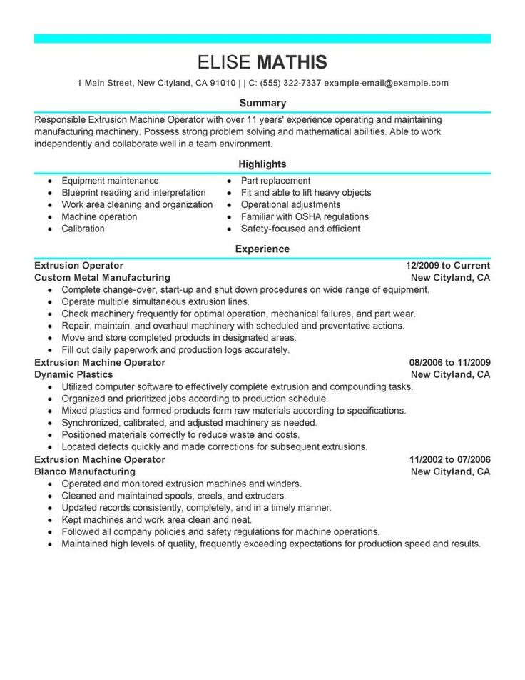 315 best resume images on Pinterest Resume templates, A letter - manufacturing resume sample