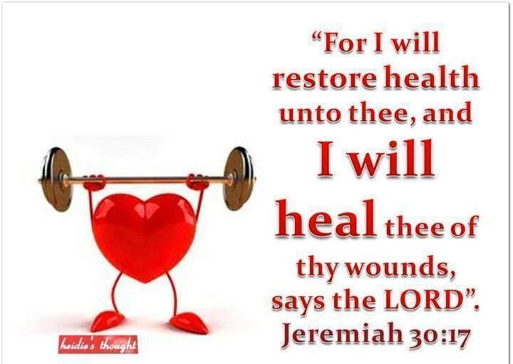 Hallelujah!!! Thank You Jesus! For I will restore health unto thee and I will heal thee of thy wounds saith the Lord; because they called thee an Outcast saying This is Zion whom no man seeketh after. [Jeremiah 30:17]