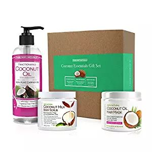 Pure Body Naturals Coconut Gift Set for Hair & Body, Fractionated Coconut Oil, Coconut Oil Deep Conditioning Hair Mask, Exfoliating Coconut Milk Scrub