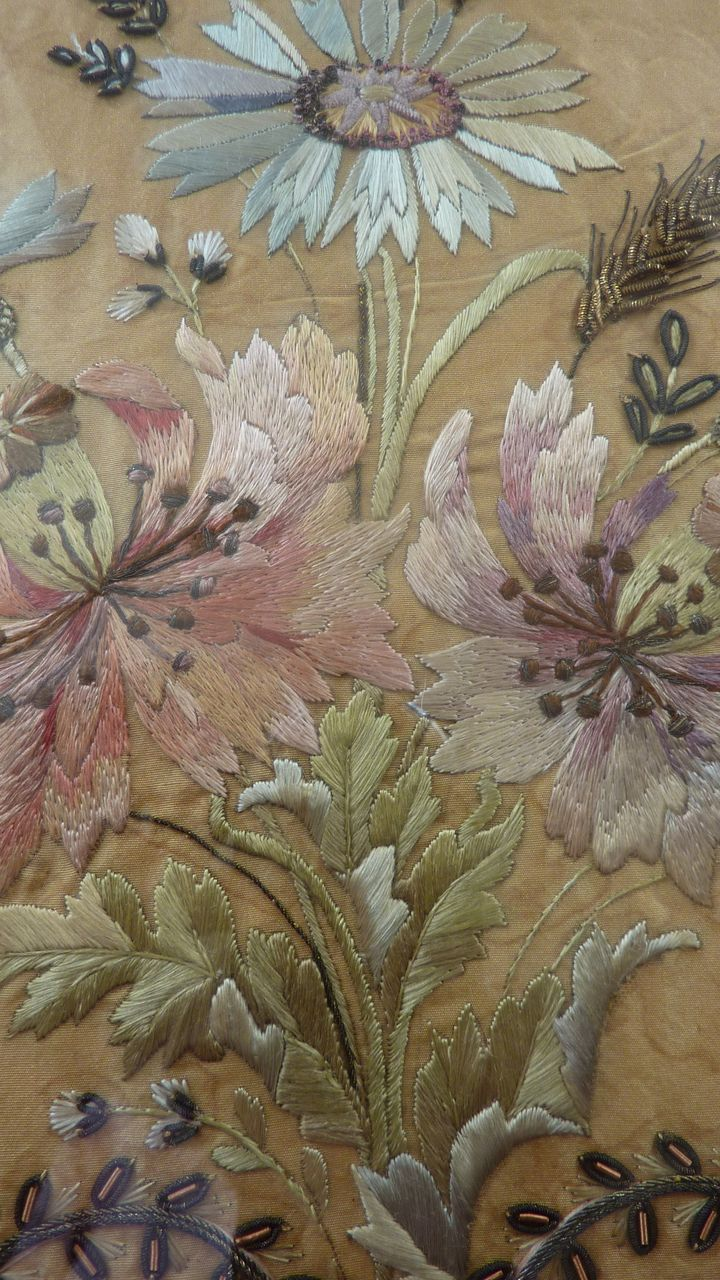 19th C. French Faded grandeur silk gold embroidery bouquet  bow
