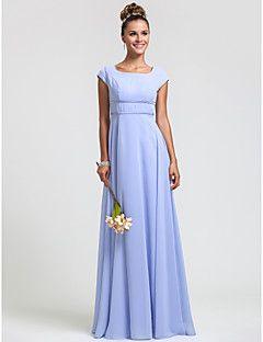 Bridesmaid Dress Floor Length Chiffon Sheath Column Square D... – USD $ 79.99