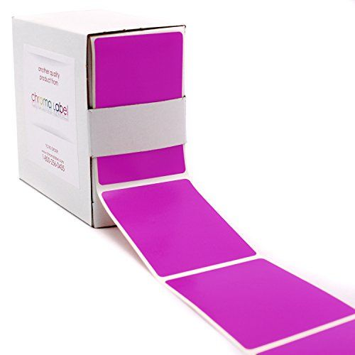 "2"" x 3"" Light Fluorescent Purple Color Code Square Sticker Labels - Permanent Adhesive, Write-On Surface - 250/Dispenser Box"