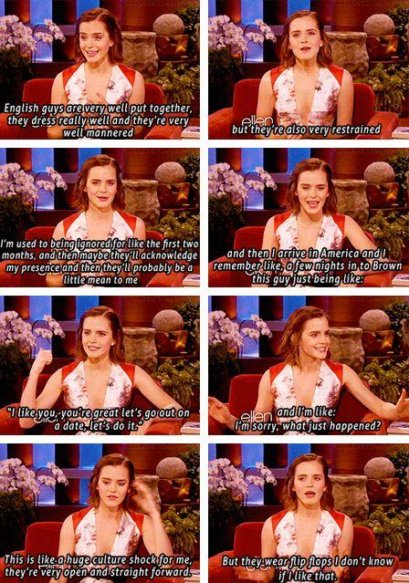 Emma Watson on British guys vs. American guys. But they wear flip