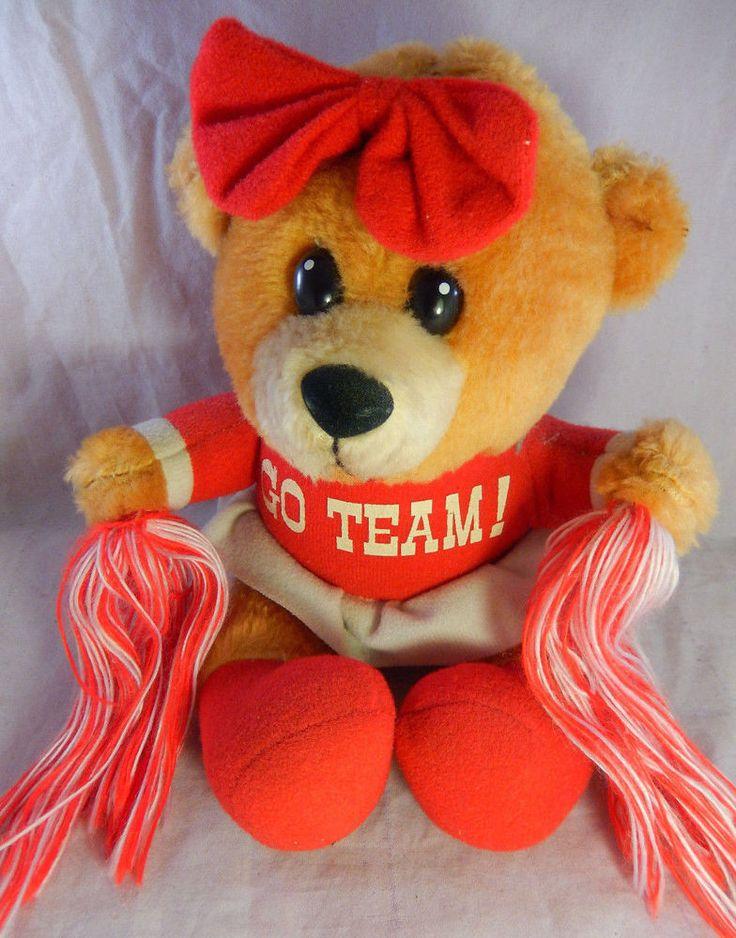 """Vintage DAN BRECHNER Cheerleader Girl BEAR Stuffed Plush Shell w Sign """"GO TEAM!"""" #DANBRECHNER"""