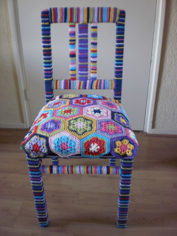 Granny square stoel! #grannysquare #haken