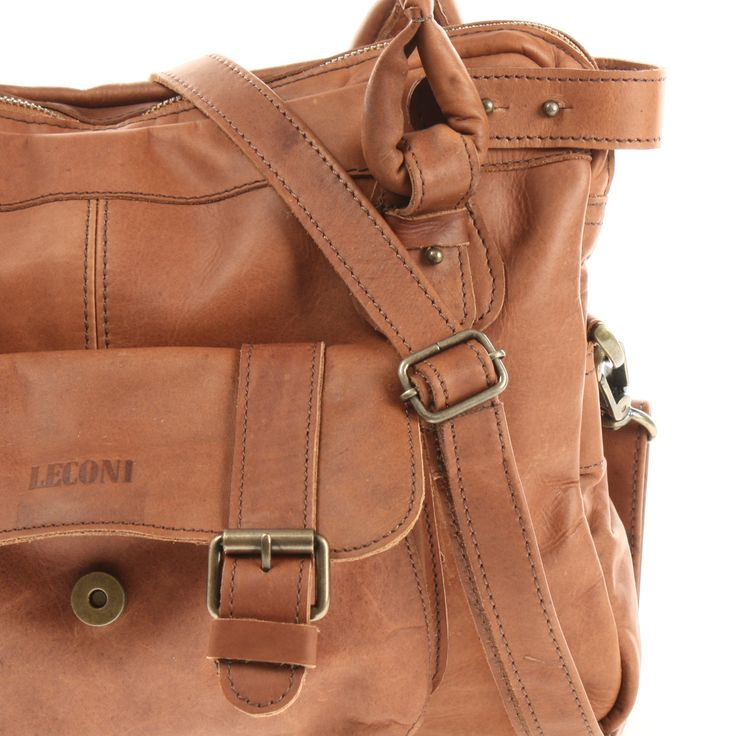 LECONI Schultertasche Henkeltasche Damentasche Handtasche Leder braun LE0050