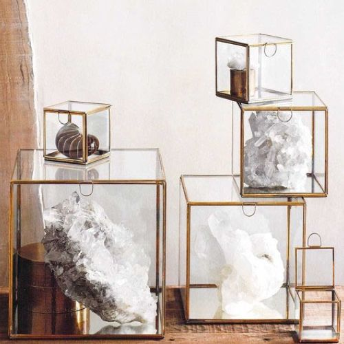 Glass Mirror Boxes - Elegant glass boxes with delicate brass edges and mirrored bases to display special objects and reflect light