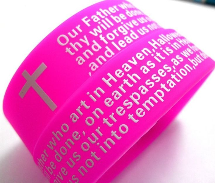 30Pcs Pink Lord's Prayer 20Mm Silicone Bracelets Wristbands Wholesale Jewelry