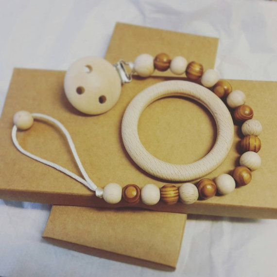 Natural wooden beads dummy clip pacifier by LovelyCraftsHome