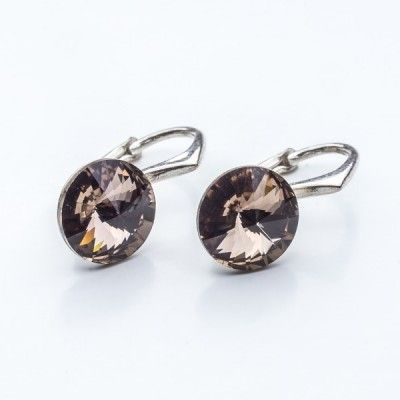Swarovski Rivoli Earrings 8mm Greige  Dimensions: length: 1,7cm stone size: 8mm Weight ~ 1,85g ( 1 pair ) Metal : sterling silver ( AG-925) Stones: Swarovski Elements 1122 SS39 Colour: Greige 1 package = 1 pair