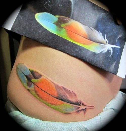 colorful feather tattoo design on waist for you