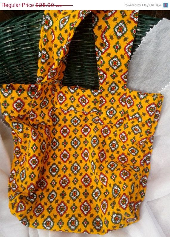 ON SALE Orange Provence Tote Handmade by SophieLadyDeParis, $25.20