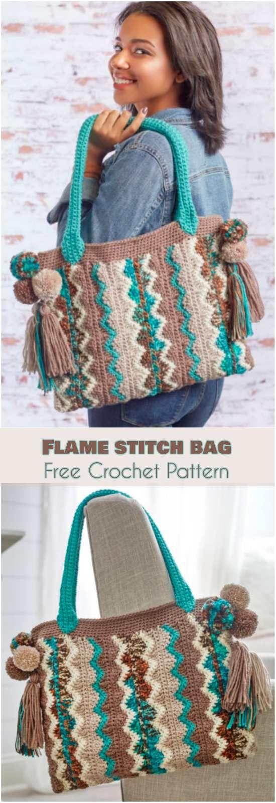 Flame Stitch Bag [Free Crochet Pattern] Tote bag, chevron motif, zig-zag pattern