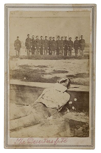 """The Deserter's fate."" A Union deserter executed by firing squad is posed on his coffin as a line of Union soldiers pose in the background, c. 1861."