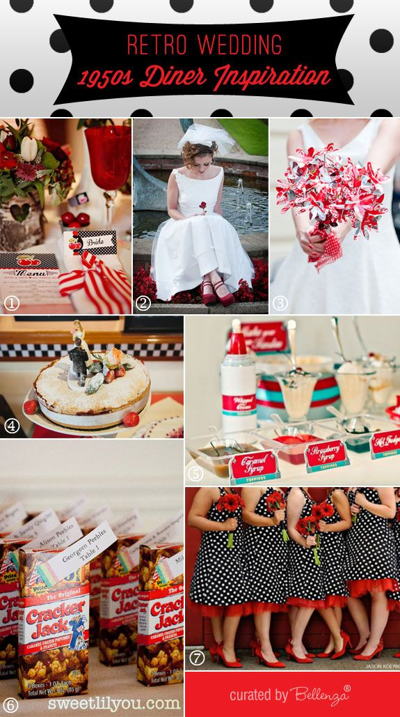Retro 1950 diner wedding theme inspiration board by Bellenza. #retroweddings #1950sweddings #dinertheme