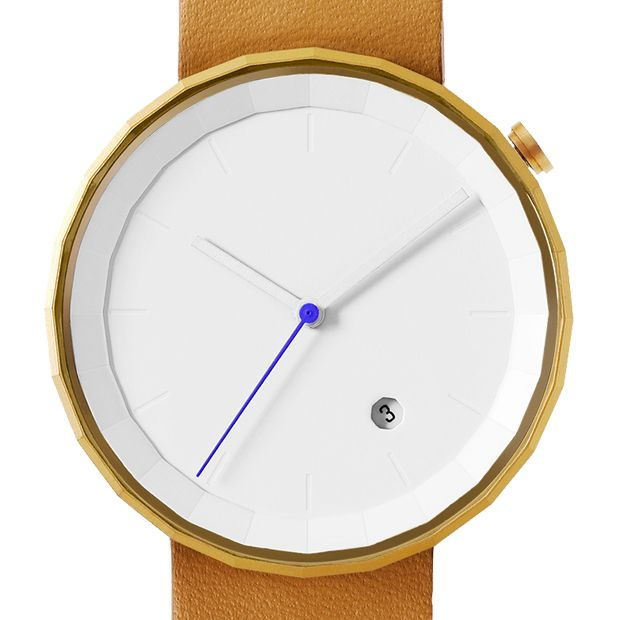 Polygon (Brown/Gold) watch by Chi and Chi. Available at Dezeen Watch Store: www.dezeenwatchstore.com