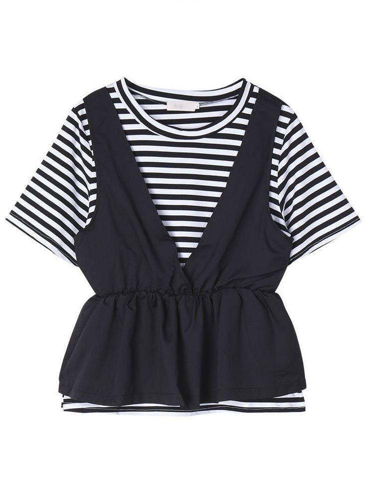 Women Short Sleeve Stripe Two Pieces Slim T-shirt