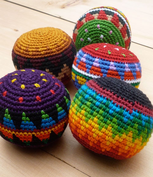 Hand Crocheted Hacky Sacks. •✿• Hilary Wayne https://www.pinterest.com/hilarywayne0818/ •✿•✿