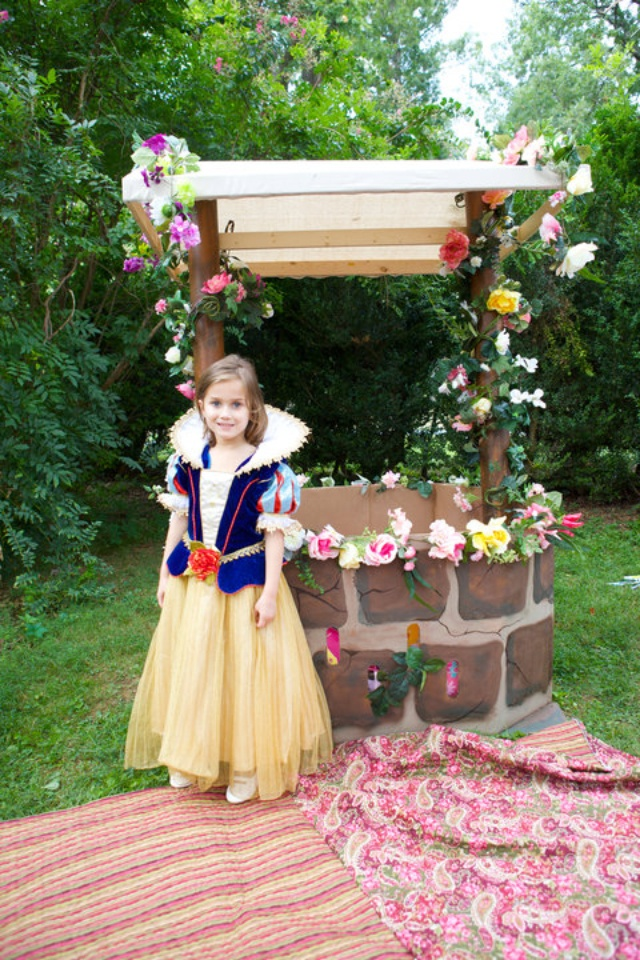 """Snow White Birthday Party. """"enchanted"""" forest. Painted Mirror. Wishing Wel from a Costco watermelon boxl. And since we rented a nature reserve a butterfly release= the perfect day for this princess!!"""