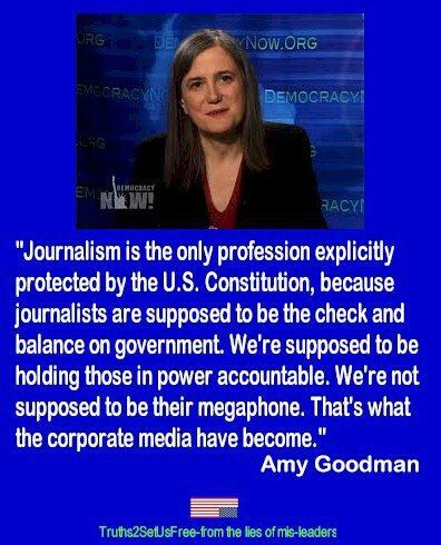 """Journalism is the only profession explicitly protected by the U.S. Constitution because journalists are supposed to be the check and balance on government.  We're supposed to be holding those in power accountable.  We're not supposed to be their megaphone.  That's what the corporate media have become."" - Amy Goodman"