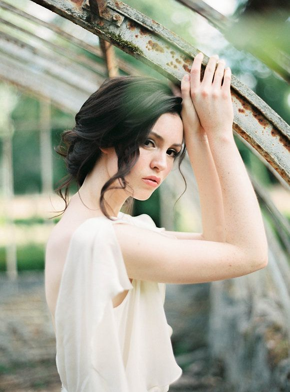 Old world wedding inspiration - bridal updo and flutter sleeve gown | Wedding…