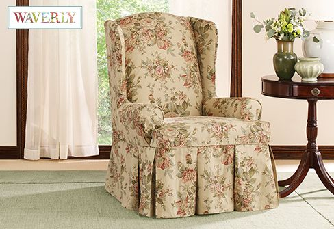 floral slipcovers for wingback chairs | Sure Fit Slipcovers Bridgewater Floral by Waverly Wing ...