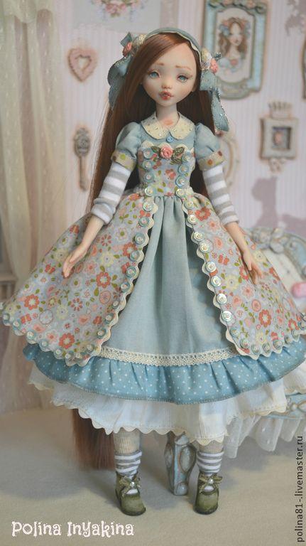 кукла из запекаемого пластика Polly - голубой,розовый,кукла ручной работы
