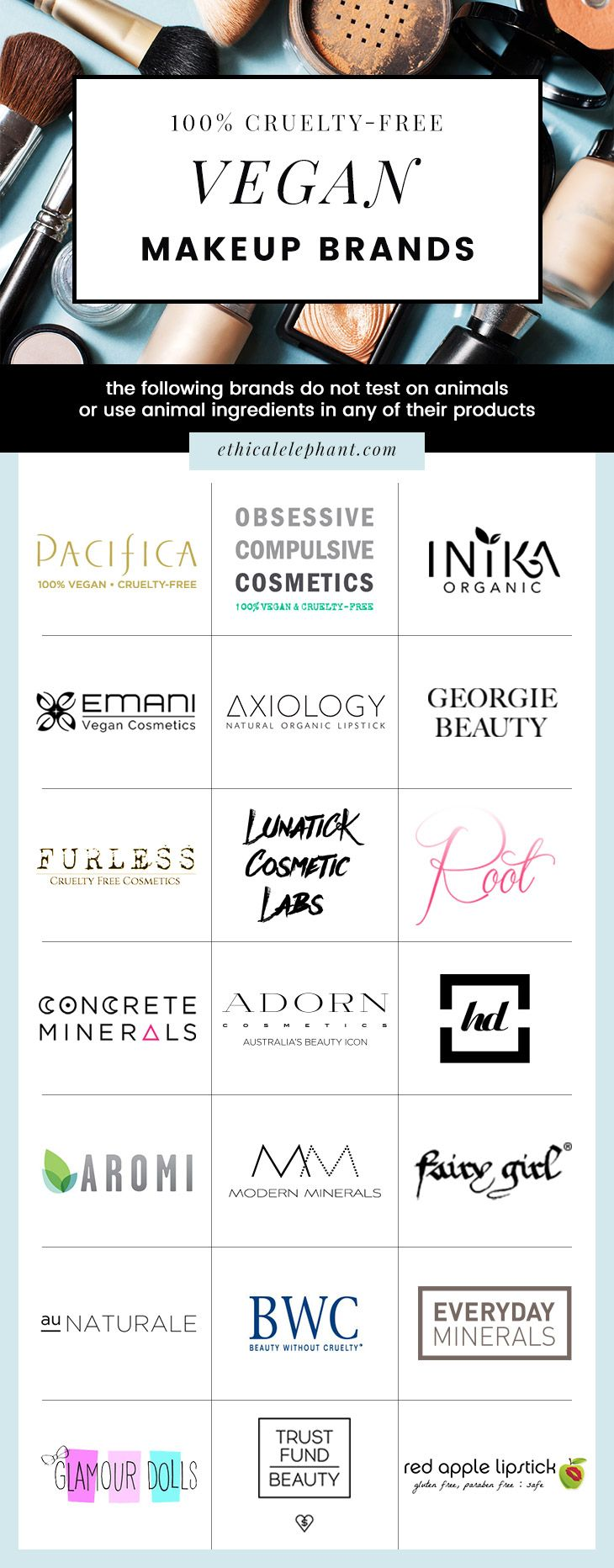 List of 100% Vegan makeup brands