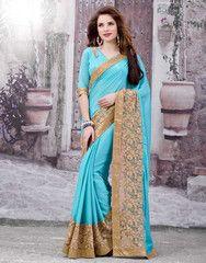 Firozi Color Satin Chiffon Function & Party Wear Sarees : Anshita Collection YF-37086