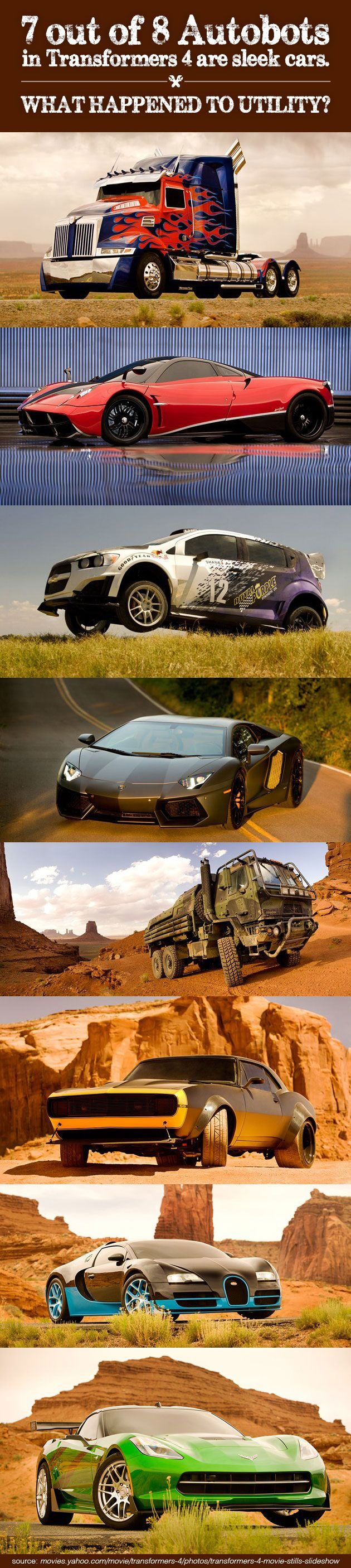 7 out of 8 Autobots in Transformers 4 are sleek cars. What happened to utility? #transformers4