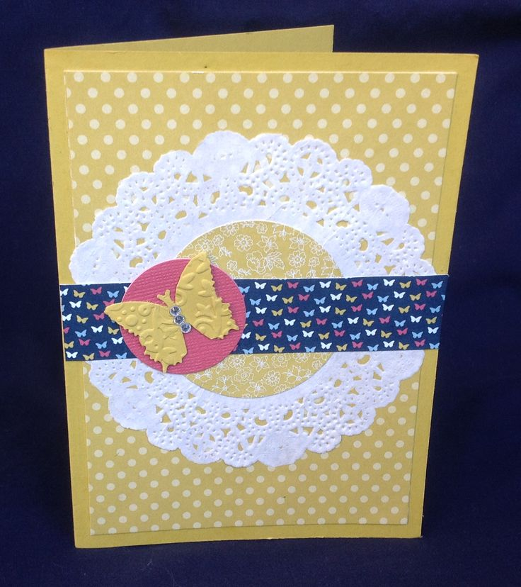 Card using Stampin Up doilys, pool party paper & 20012-2014 colour stack